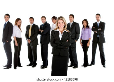 Business group isolated over a white background