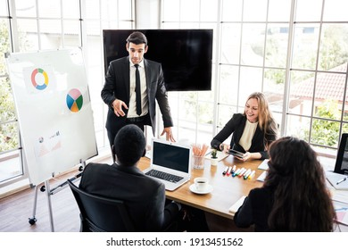 Business group meetings and corporate discussion about last year's review and a new business plan in the office. Businesspeople of various nationalities such as Caucasian and African people in seminar