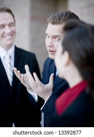 business group of men and woman have small discussion