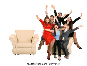 Business group of people give discount. Isolated. Concept.