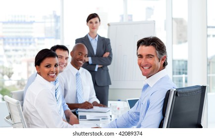 Business group showing ethnic diversity at a meeting