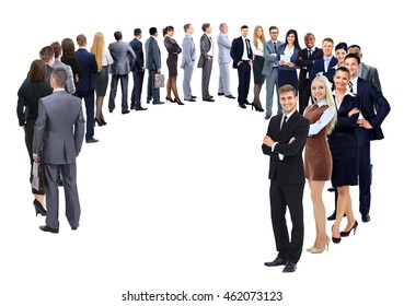 Business group stand in a circle isolated over a white backgroun