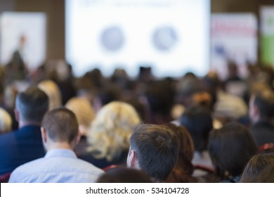 Business Groups and People Concepts and Ideas. Group of People Attending Conference and Listening to the Host.Horizontal Image Orientation