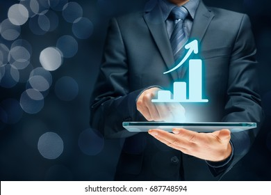 Business growth analysis concept. Businessman plan growth and increase of positive indicators in his business.