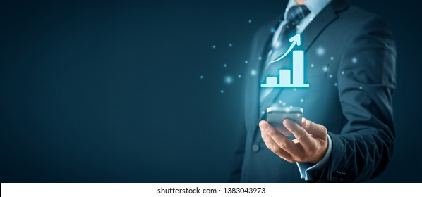 Business growth analysis on smart phone. Businessman plan growth and increase of positive indicators in his business.