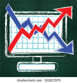 Business growth bar graph on computer