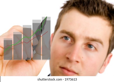 business growth chart being drawn on screen by a business man