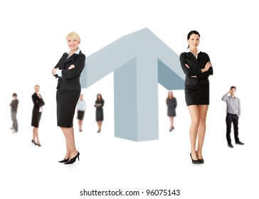 Business growth concept. Businesspeople around giant arrow pointing up.