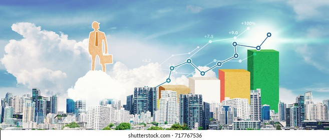 Business Growth and financial symbols from city background : Paper pattern style