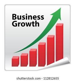Business Growth paper icon concept with red graph and green arrow