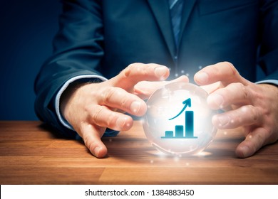 Business growth prediction and planning. Look into the crystal ball. Business person visionary with crystal ball and symbol of growing graph.