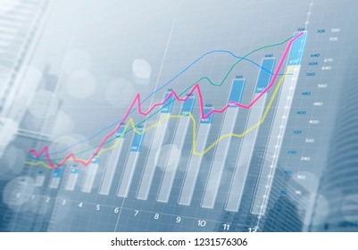 Business growth, progress or success concept. Financial bar chart and growing graphs with depth of field on bright tone background.