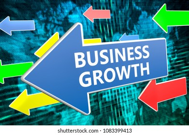 Business Growth - text concept on blue arrow flying over green world map background. 3D render illustration.