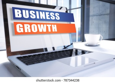 Business Growth text on modern laptop screen in office environment. 3D render illustration business text concept.