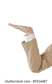 Business hand in brown suit isolated over white background