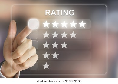 business hand clicking rating on virtual screen interface