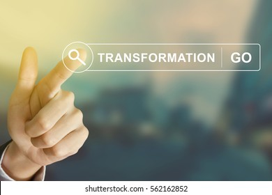 business hand clicking transformation button on search toolbar with vintage style effect