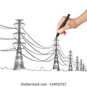 business hand drawing industrial electric pylon and wire
