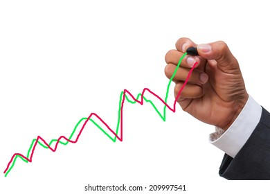 business hand drawing line graph on white background