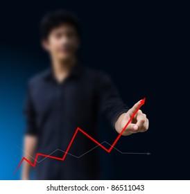 Business hand graph