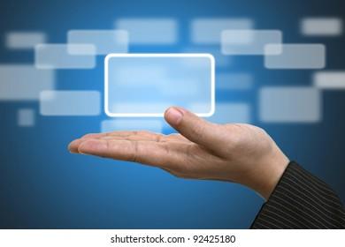 Business Hand hold blank Technology Input Screen Button Interface