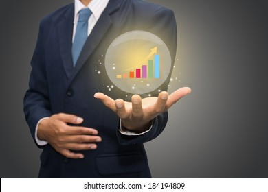 Business hand holding hot chart