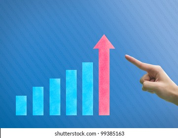 Business hand point graph