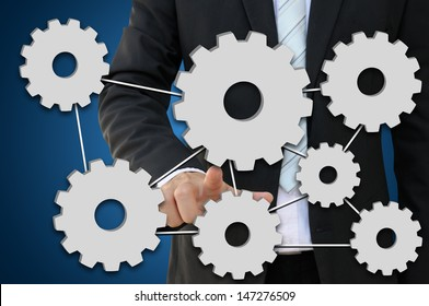 Business hand pointing gear for working system of business concept