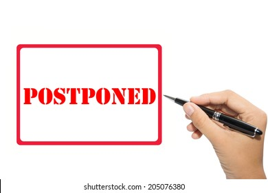 Business hand pointing POSTPONED