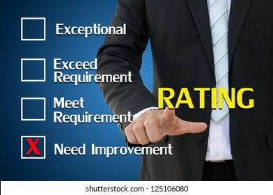 Business hand pointing rating  concept