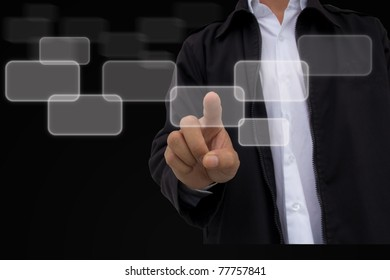business hand pushing a button touch screen