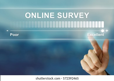 business hand pushing excellent online survey on virtual screen interface