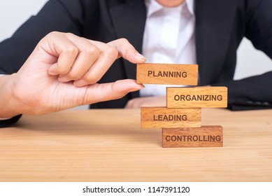 business hand putting the wooden toy with words about four functions of management: Planning, Organizing, Leading and Controlling for business and management concept.