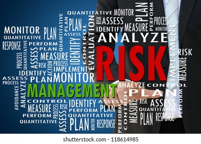 Business hand with risk management concept