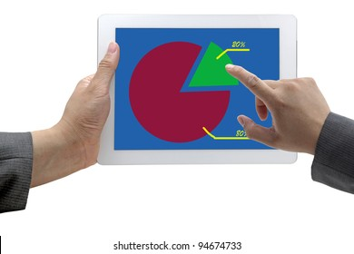 Business Hand Select on Best 20 Graph for 80-20 Rule on Tablet