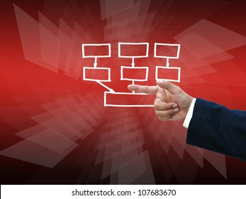 Business hand selecting business icon on modern red abstract background.