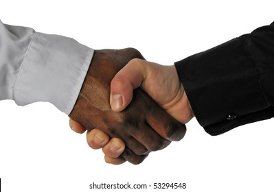 Business hand shake between black and white man