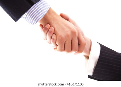 Business hand shake on white background