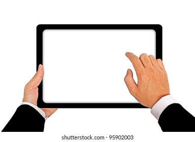 Business hand with Tablet connection on white background