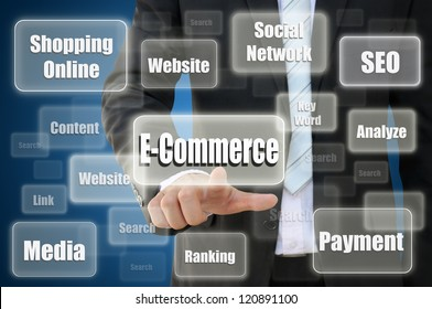 Business hand touch E- Commerce for shopping online concept
