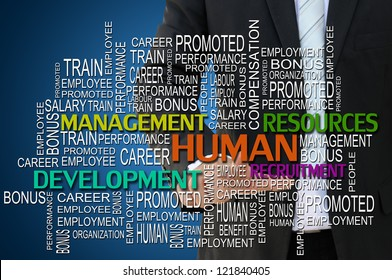 Business hand touching human management concept