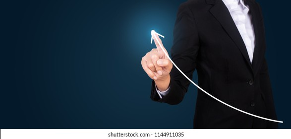 business hand touching point graph growth or increase business chart, Growing up revenue and development concept