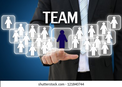 Business hand touching team for organization concept