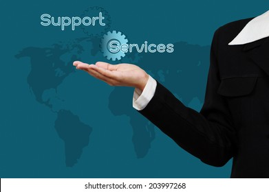 Business hand with  word support and services on virtual screen.