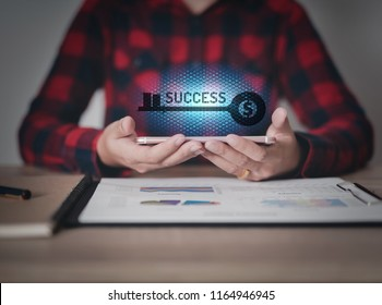 business hand working with new modern smartphone and business success as concept