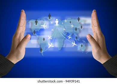 Business Hand with World Travelling concept on Technology Virtual Screen