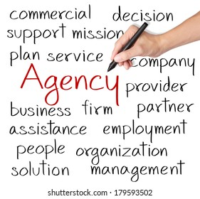 business hand writing agency concept