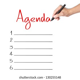 business hand writing blank agenda list