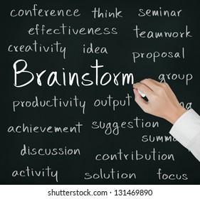 business hand writing brainstorm concept