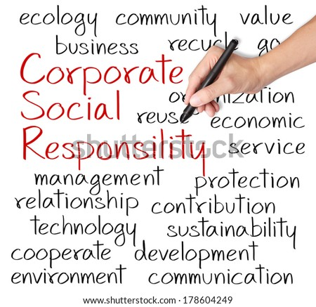 business hand writing corporate social responsibility ( CSR ) concept